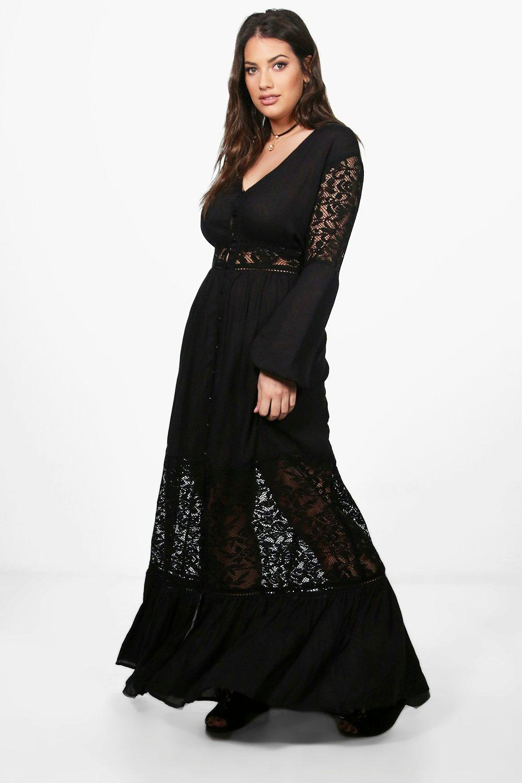 96fa03c2c5e4 Boohoo Plus Boho Lace Insert Maxi Dress in Black - Lyst