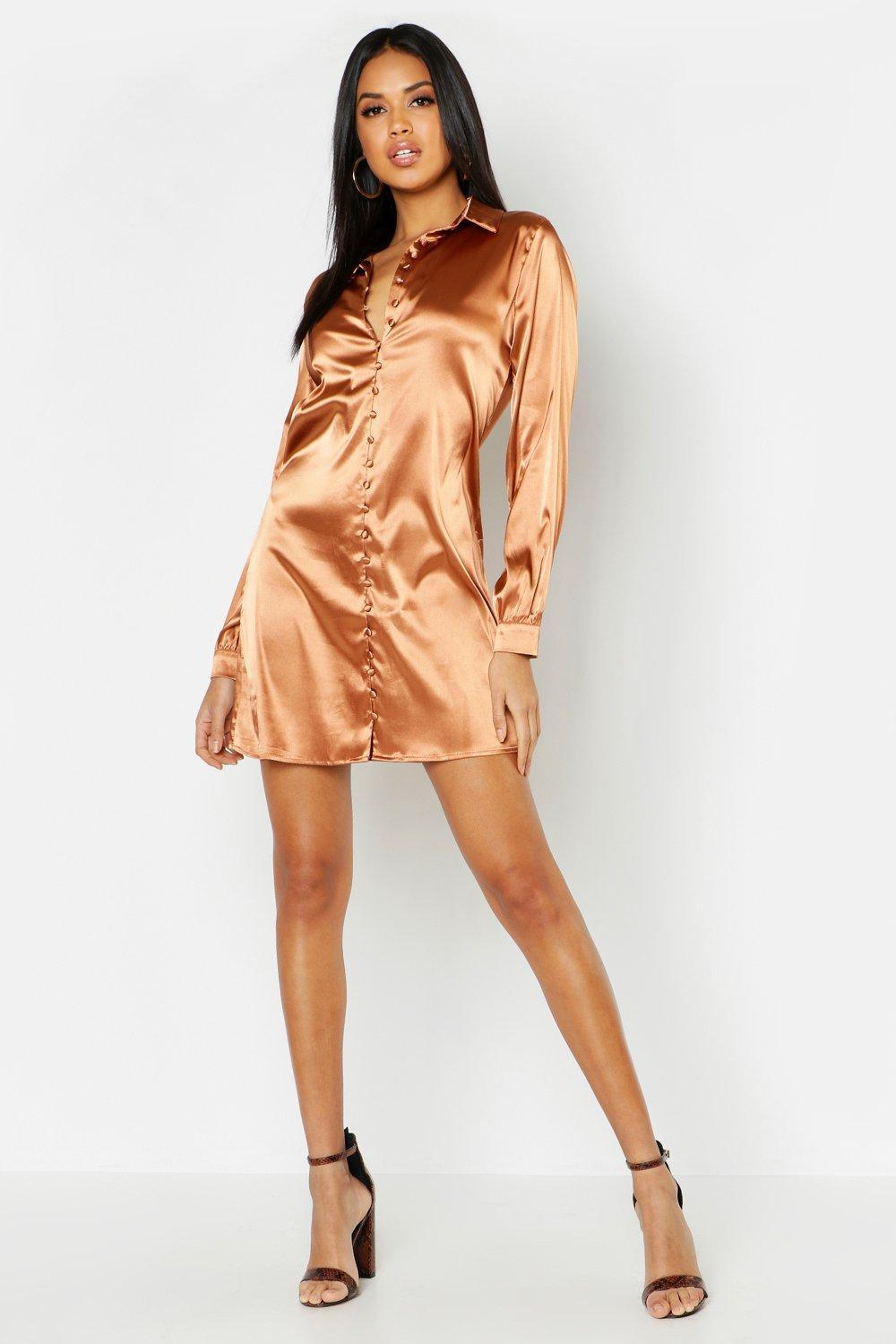 Mini Beige Corti Dress Wrap Button Detail Boohoo Satin oeCBrdx