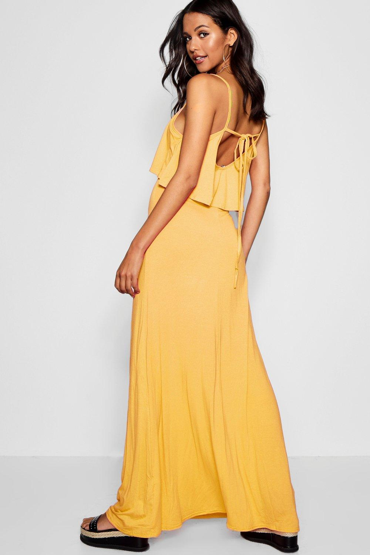 3d6a6d0dd9ab Lyst - Boohoo Tie Back Maxi Dress in Yellow