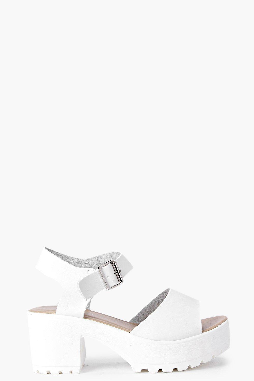 61a278cee193 Boohoo - White Julia Peeptoe Two Part Cleated Sandal - Lyst. View fullscreen