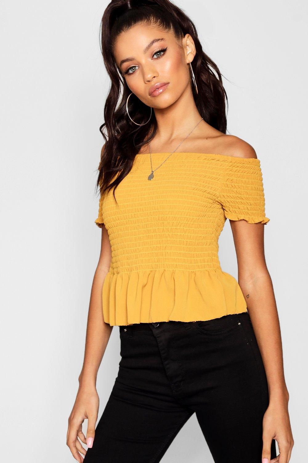 38f699d579e92 Boohoo Shirred Off The Shoulder Crop Top in Yellow - Lyst