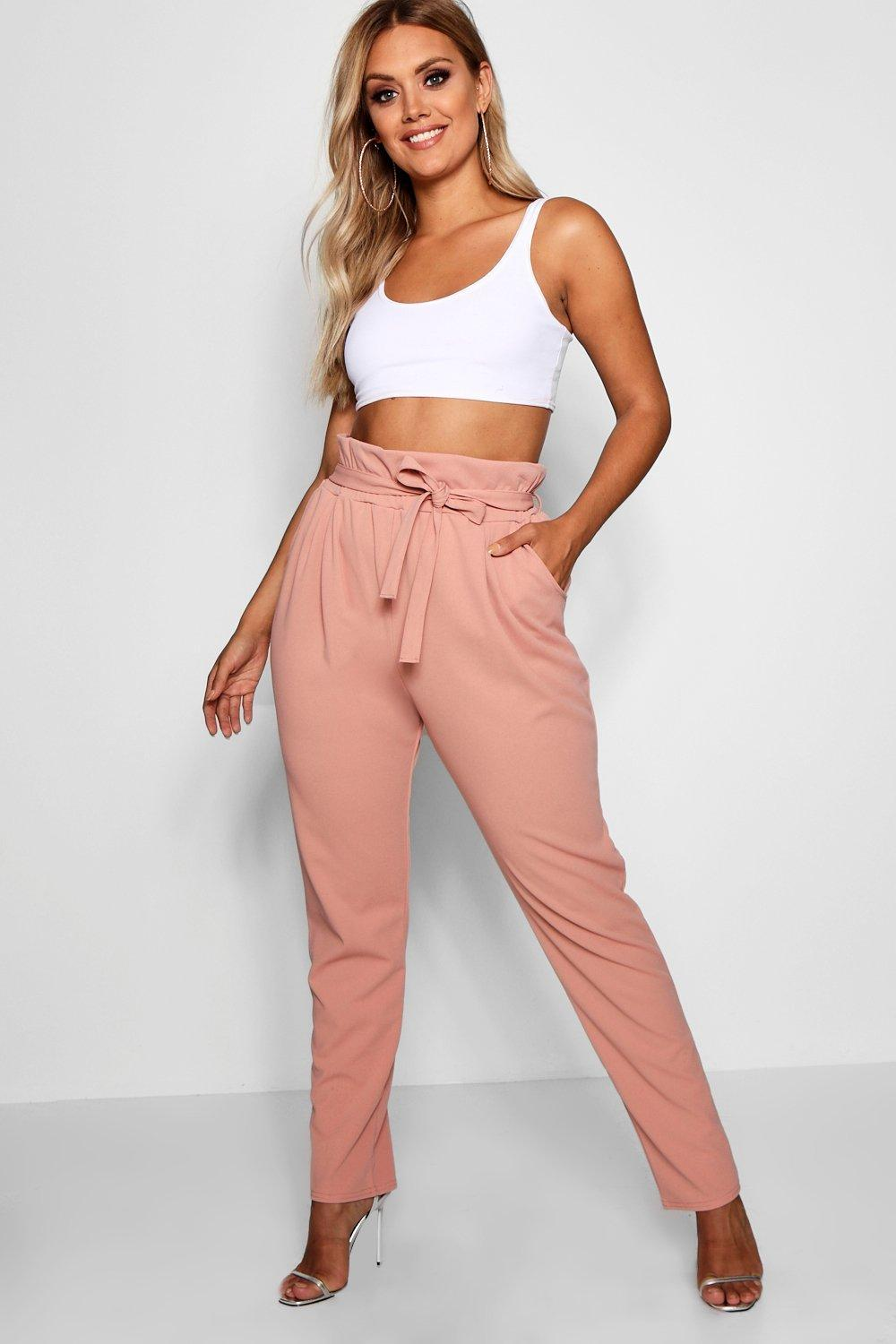 f3ef4d2cfb627 Boohoo. Women's Plus Paperbag Tapered Trouser