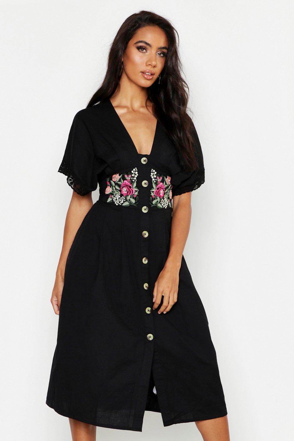 7121f0ff1 Boohoo Embroidered Linen Button Front Midi Dress in Black - Lyst