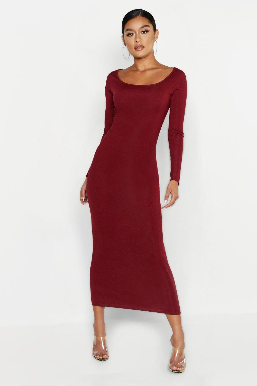51aec01007e53 Boohoo Scoop Neck Long Sleeve Ribbed Midaxi Dress in Red - Lyst