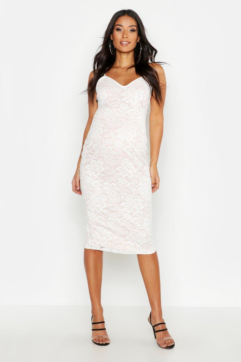 660dd8d5d7fc Boohoo Maternity Lace Midi Dress in White - Lyst