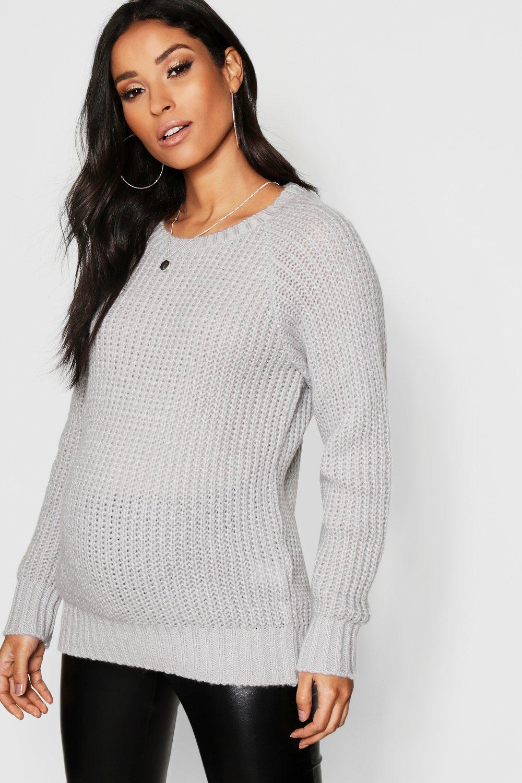 8fe5a749ef Boohoo Maternity Soft Knit Crew Jumper in Gray - Lyst