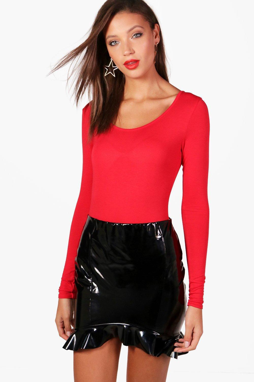dafa92fa5e Lyst - Boohoo Tall Long Sleeve Basic Bodysuit in Red