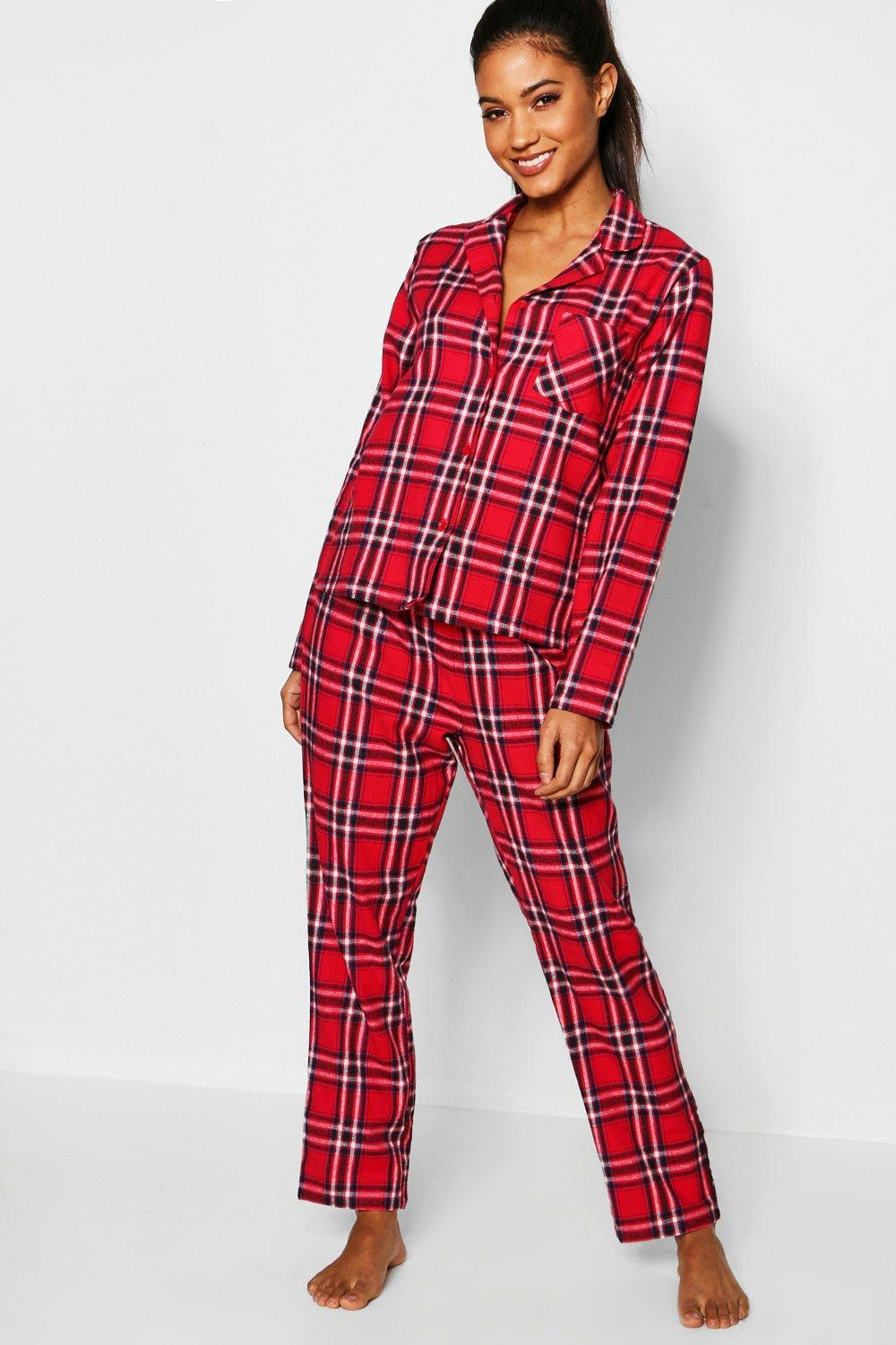 d391780e4c Lyst - Boohoo Red Check Brushed Flannel Button Through Pj Set in Red