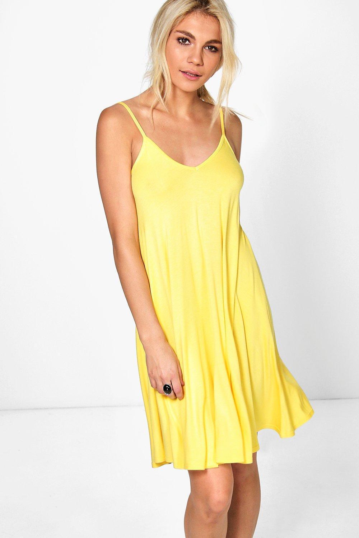 1cd889905a69b Lyst - Boohoo Kelly Strappy Swing Dress in Yellow