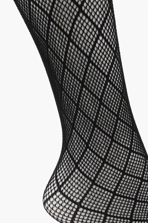 58cc8b2034abb Boohoo Diamond Pattern Fishnet Tights in Black - Lyst