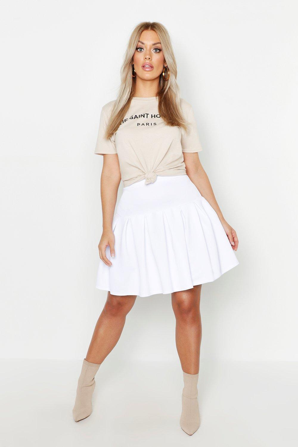 2a37420b60a Boohoo Plus Tennis Style Pleated Skater Skirt in White - Lyst