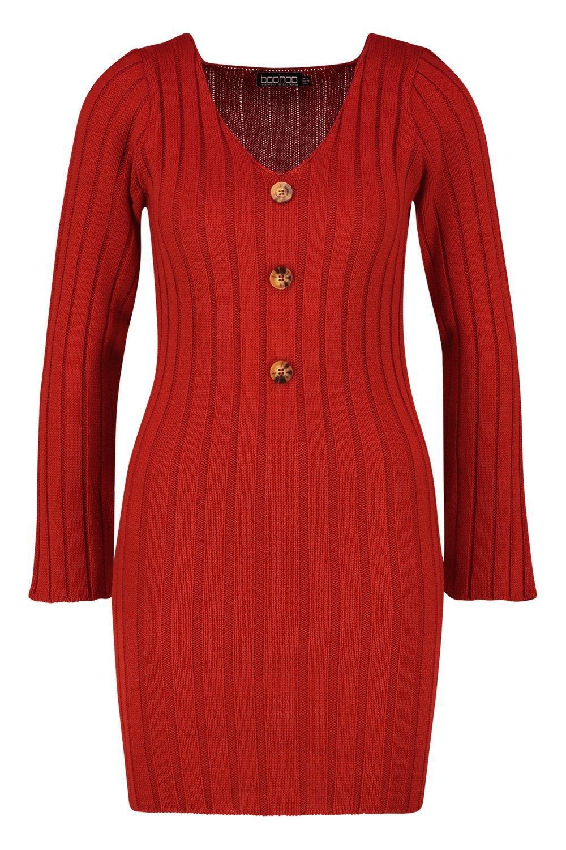 076bd7b32d1 Boohoo - Red Long Sleeve Rib Knit Button Front Dress - Lyst. View fullscreen