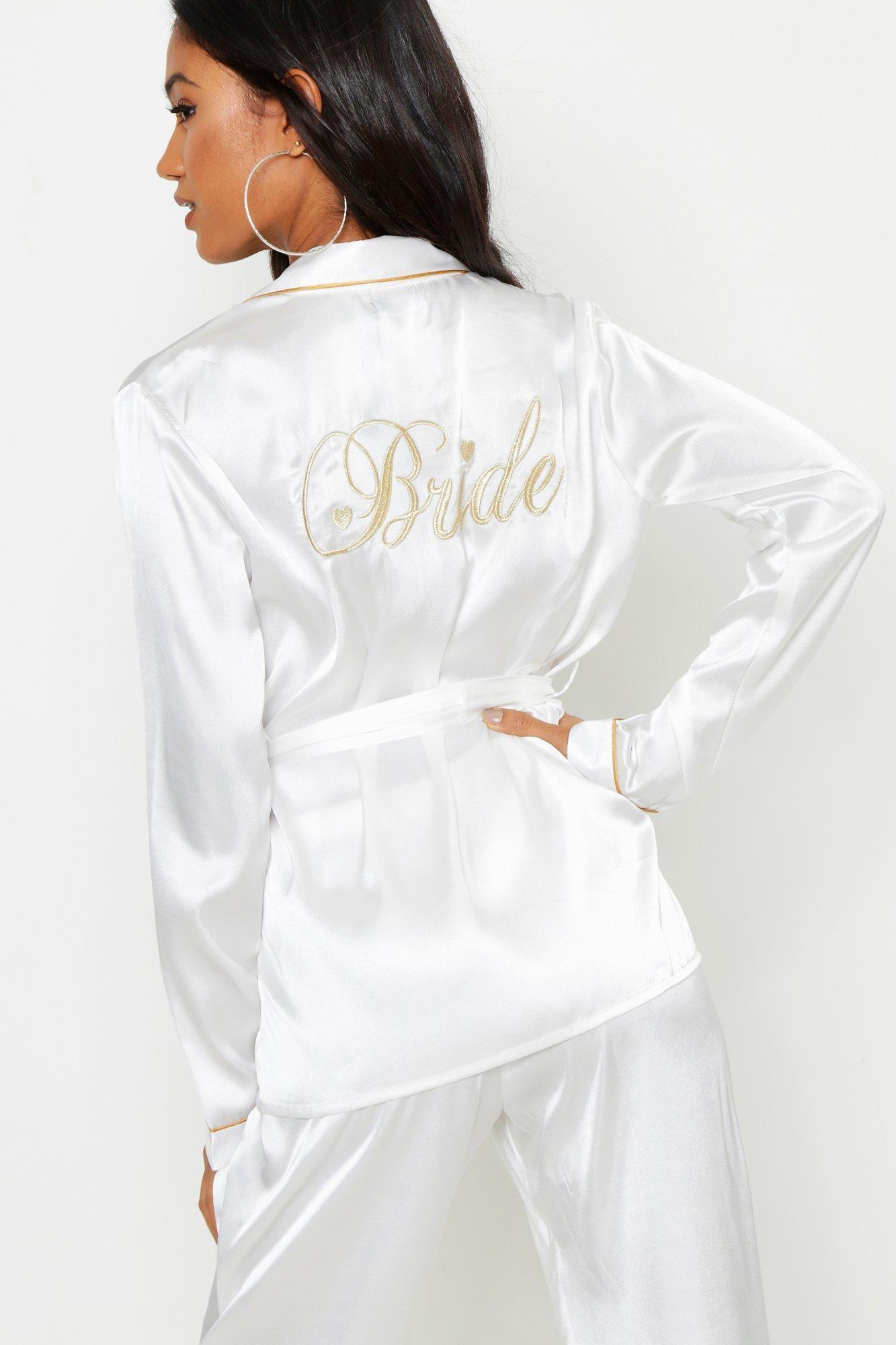 7149ec78ca6 Boohoo Bride Wrap Front Pj Set in White - Lyst