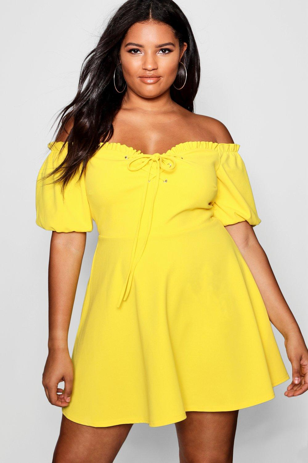 Boohoo Lace Up Front Puff Sleeve Skater Dress Factory Outlet For Sale 2018 Unisex ZG2snvfeXD