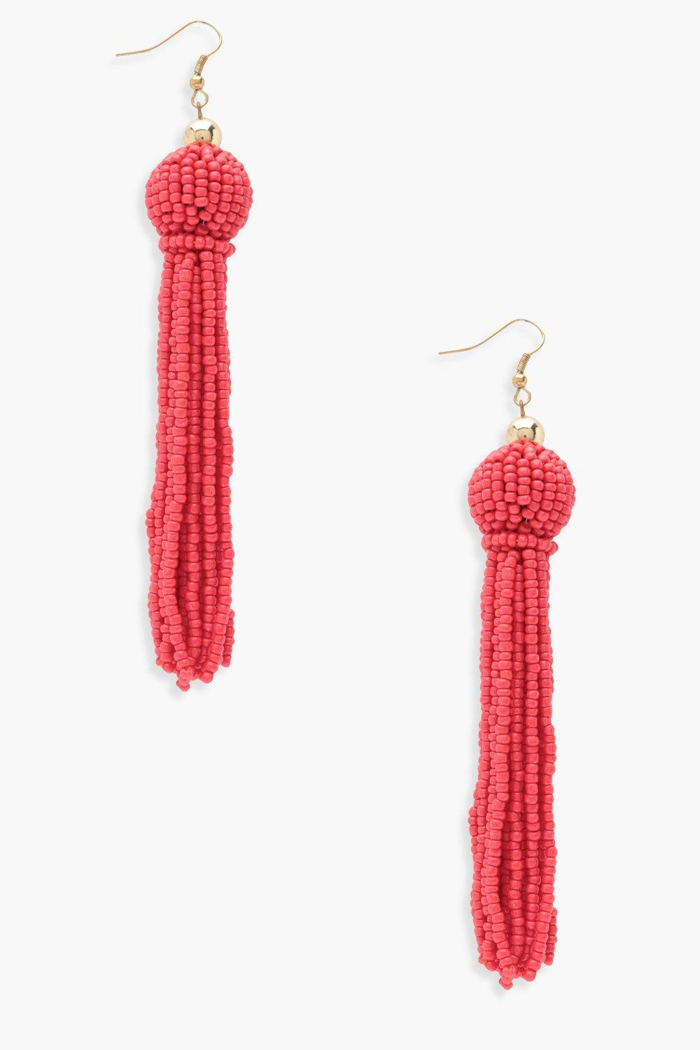 900f3a18c0a Lyst - Boohoo Niamh Beaded Tassel Earrings in Red