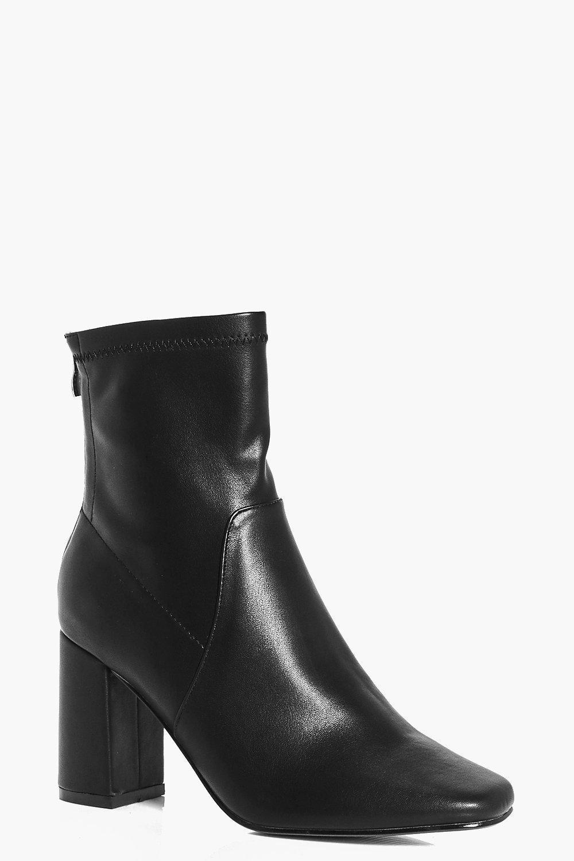85ddce148aa2 Boohoo Bella Wide Fit Block Heel Sock Boot in Black - Lyst