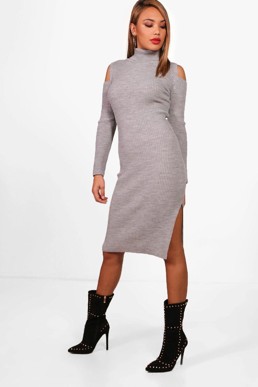 d4c2f31648a4 Boohoo Amy Rib Knit Cold Shoulder Roll Neck Jumper Dress in Gray - Lyst