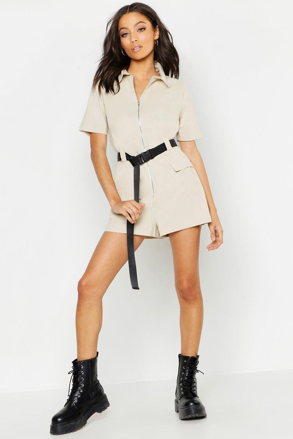 ede2bc618c Boohoo. Women s Utility Safety Buckle Cargo Playsuit