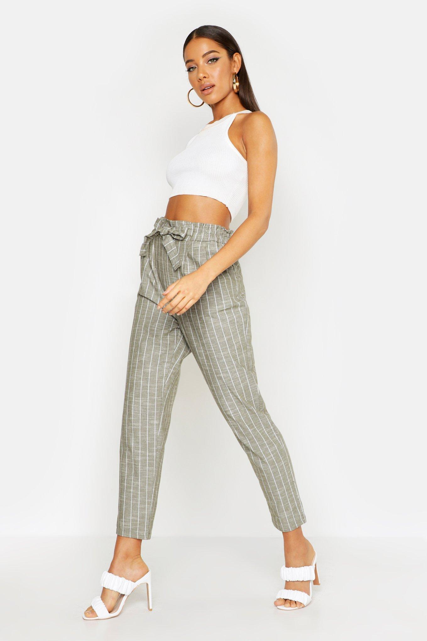 be691ce20a984 Boohoo. Women's Paperbag Linen Stripe Tapered Trouser