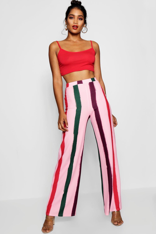 bff7858e7d137 Lyst - Boohoo Pastel Stripe Crepe Wide Leg Trouser in Pink