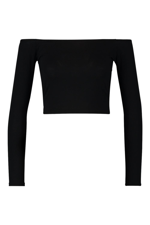d6f143a6594 Boohoo - Black Basic Long Sleeve Bardot Crop Top - Lyst. View fullscreen
