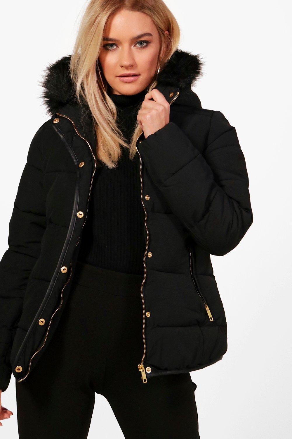 Boohoo Fitted Padded Jacket With Faux Fur Hood In Black Lyst