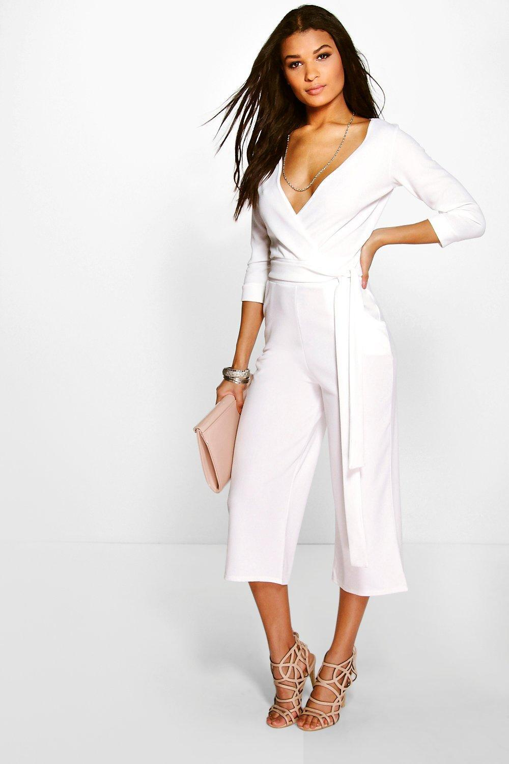 bd94f5cf67c Lyst - Boohoo Roll Sleeve Relaxed Culotte Jumpsuit in White