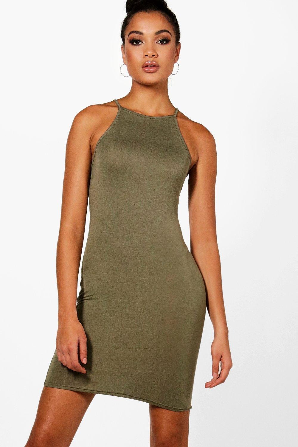 1431a294d4c1 Lyst - Boohoo Tall High Neck Cami Bodycon Dress in Green