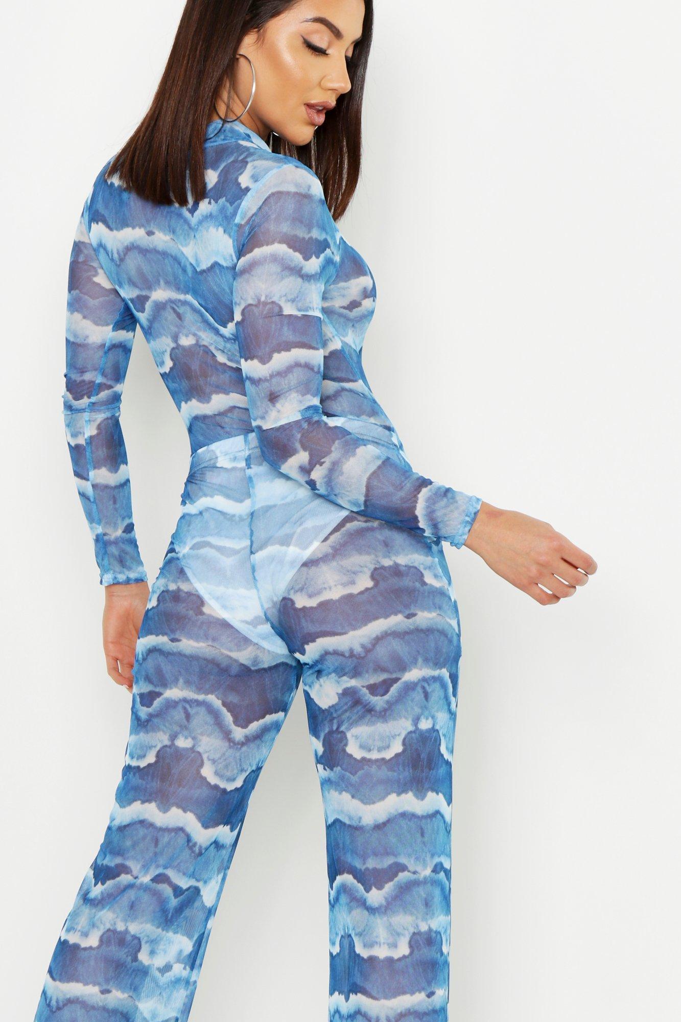 4a78a6aaa890 Boohoo - Blue Tie Dye Mesh Pant Lined Loose Leg Trouser - Lyst. View  fullscreen