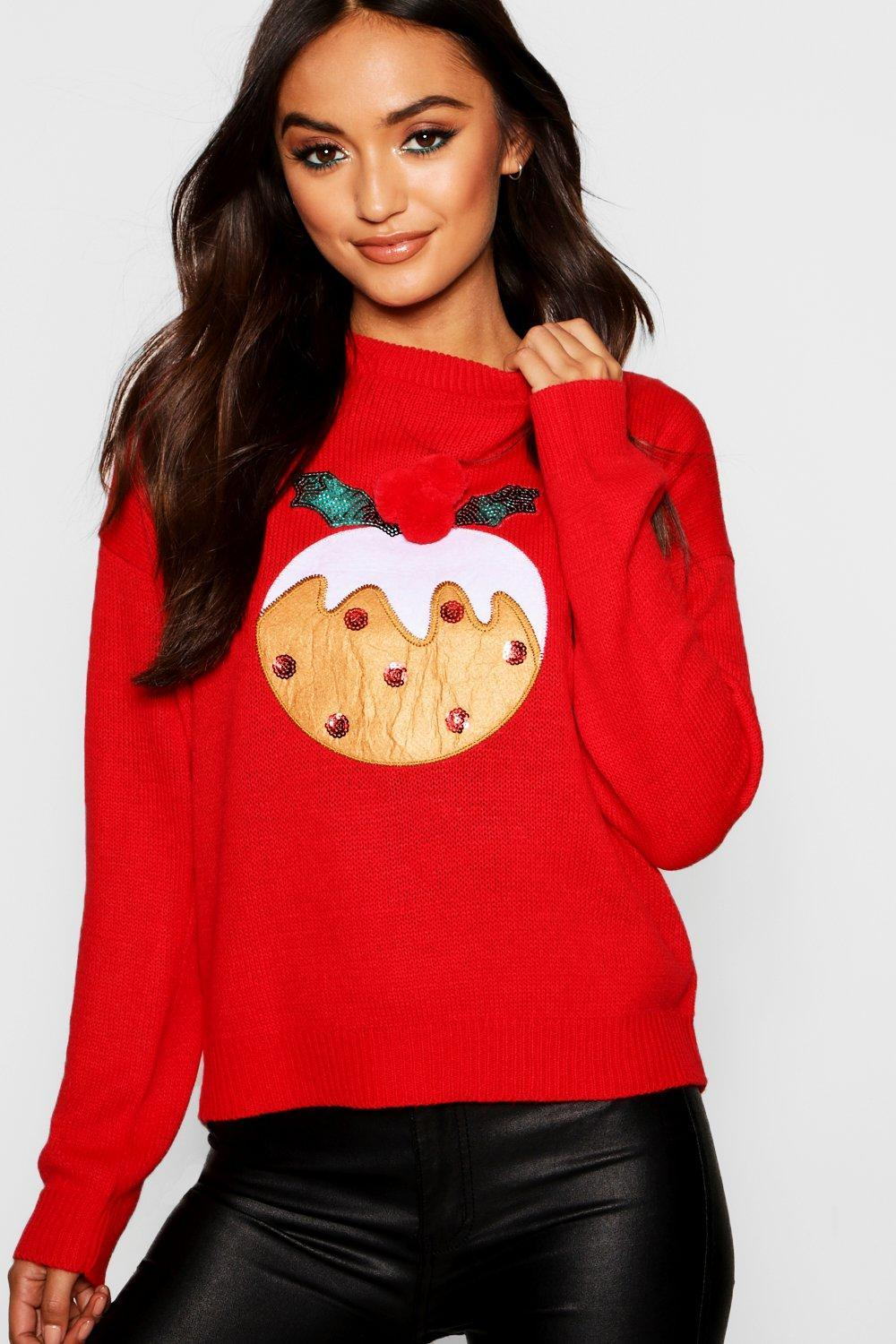 731b26e71b1a6 Lyst - Boohoo Christmas Pudding Applique Sweater With Pom Pom in Red ...