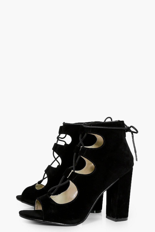 9db7fceca351 Lyst - Boohoo Ghillie Lace Up Block Heels in Black