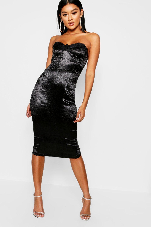 3c54fa64b65e Boohoo Satin Lace Trim Bustier Midi Dress in Black - Lyst