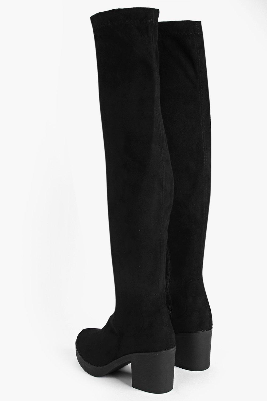 3a2c6cea14b Boohoo Block Heel Over The Knee Boots in Black - Lyst