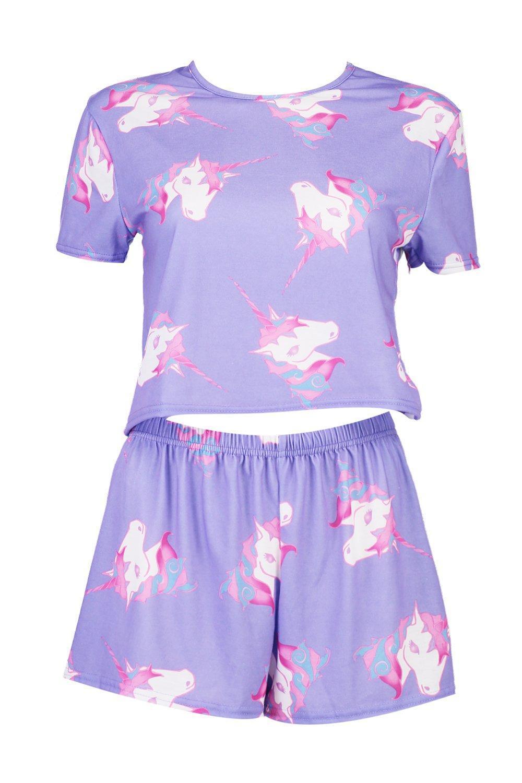 3d38e9490c016 Lyst - Boohoo Petite Aimee Unicorn Print Pyjama Short Set in Purple
