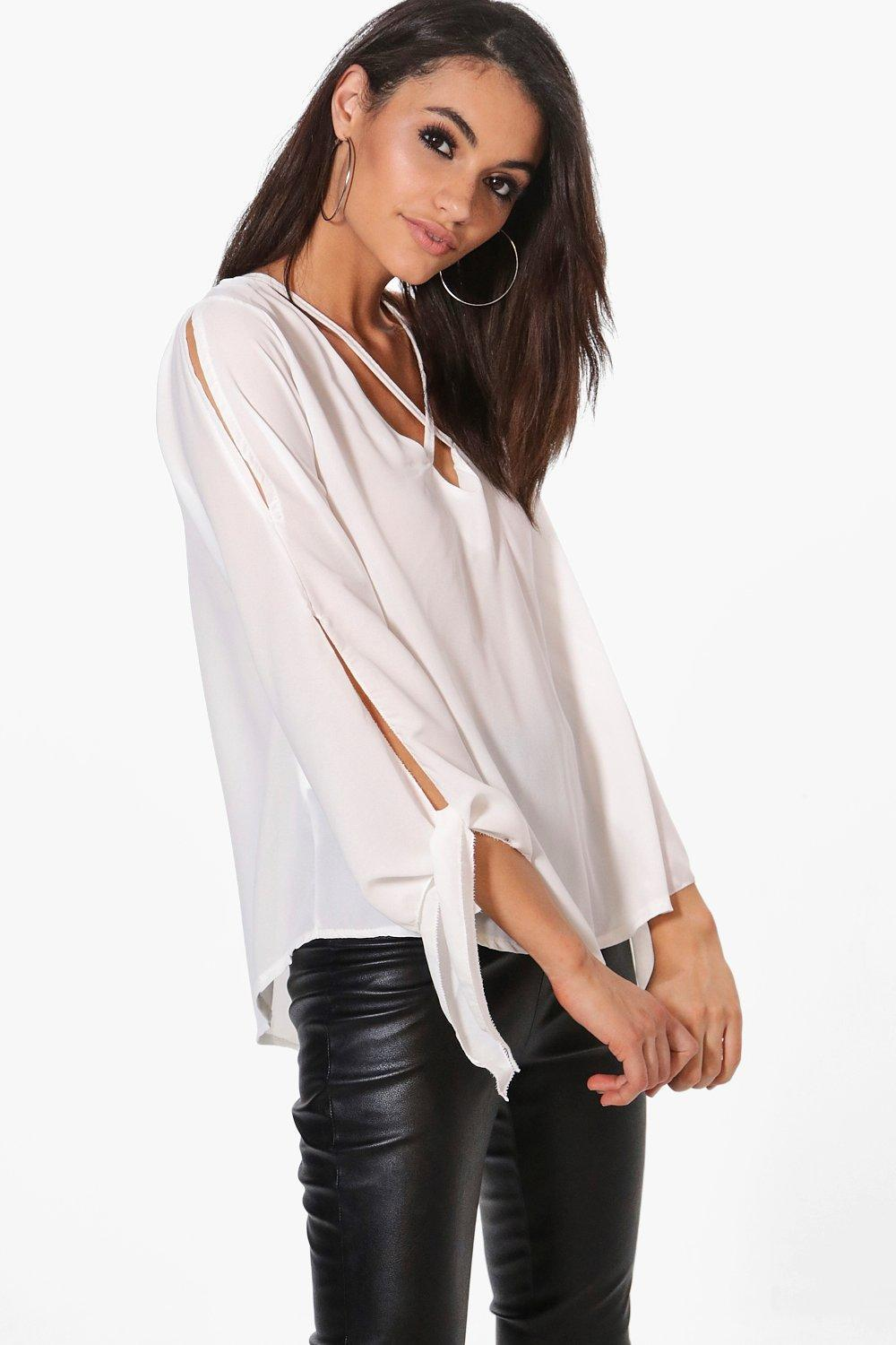 8b918c1283d4e Boohoo Esme Tie Strap Detail Woven Blouse in White - Lyst
