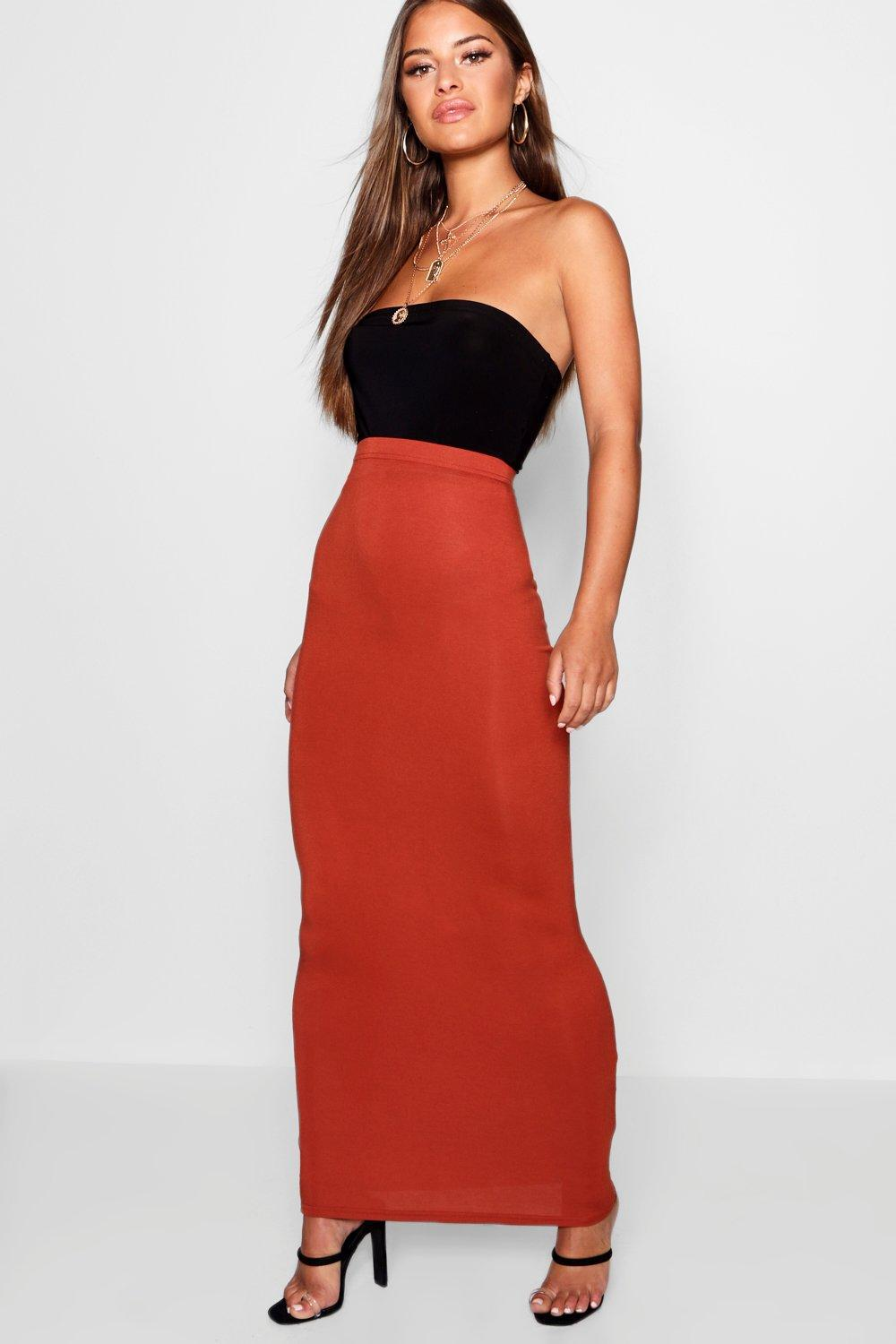 66307f380df Lyst - Boohoo Petite Jersey Basic Maxi Skirt in Red