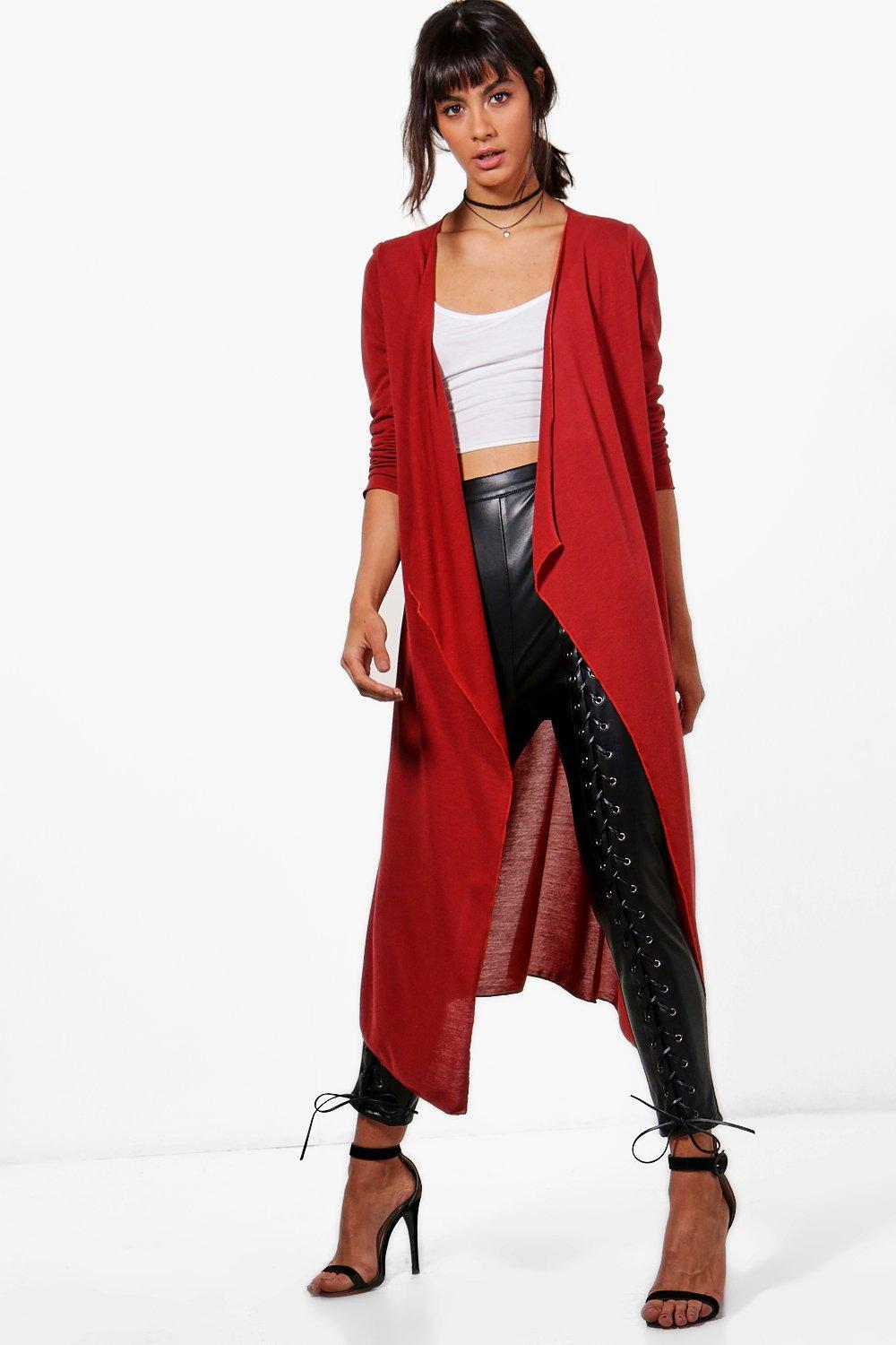 Boohoo Jade Waterfall Maxi Cardigan in Red | Lyst