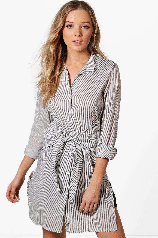 6be6c9f563a7 Boohoo Mia Tie Waist Stripe Shirt in Black - Lyst