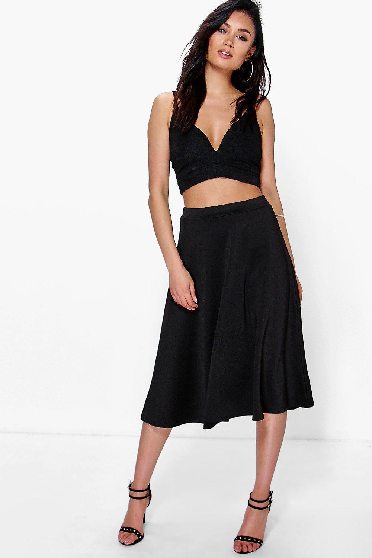 boohoo arianna plain circle midi skirt in black lyst