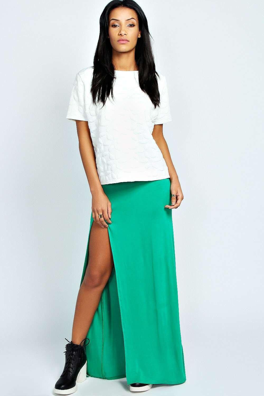 boohoo soraya thigh high split maxi skirt in green lyst
