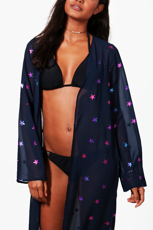 47e95a6a70966b Lyst - Boohoo Mesh Superstar Maxi Beach Kimono in Blue