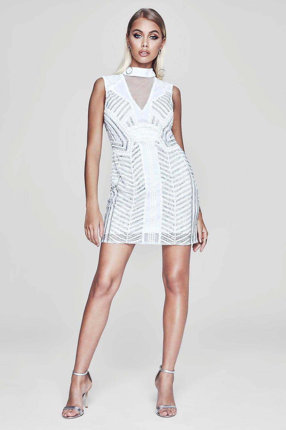 Boohoo Premium Sheer Back Embellished Mini Dress in White - Lyst 120083709
