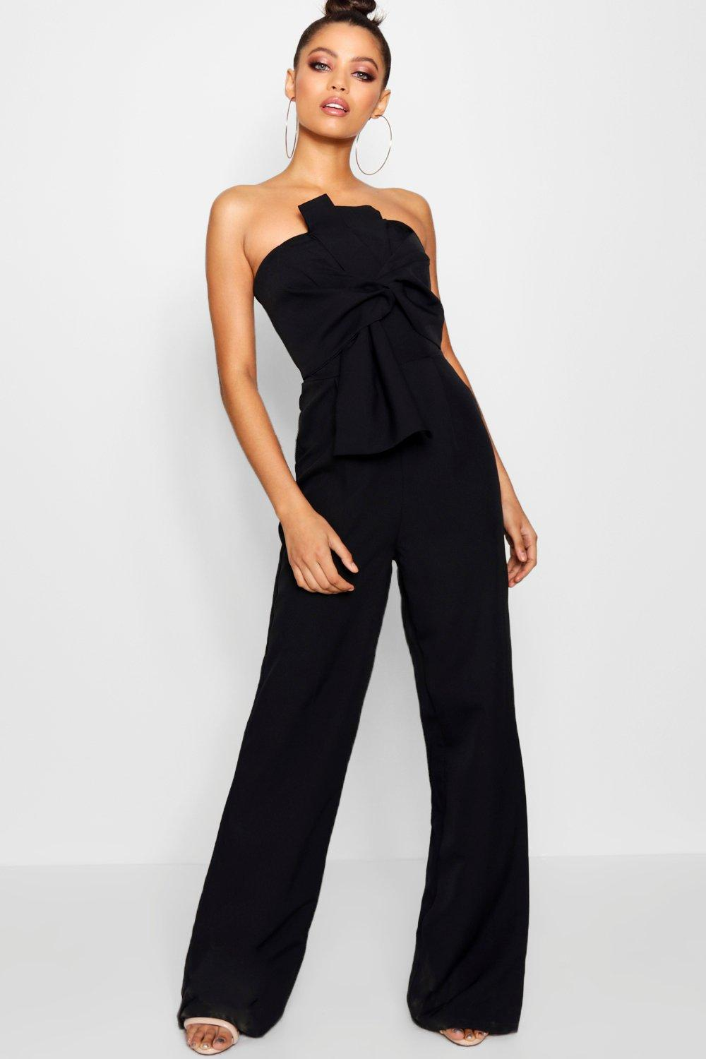 aa642cf549a5 Boohoo Boutique Bow Front Occasion Jumpsuit in Black - Lyst