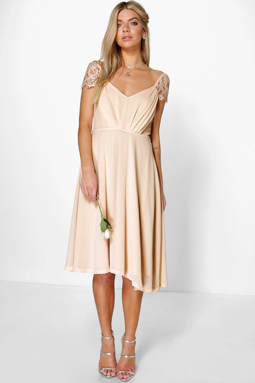 Lyst - Boohoo Eyelash Lace Sleeve Chiffon Midi Skater Dress in Pink 849699305