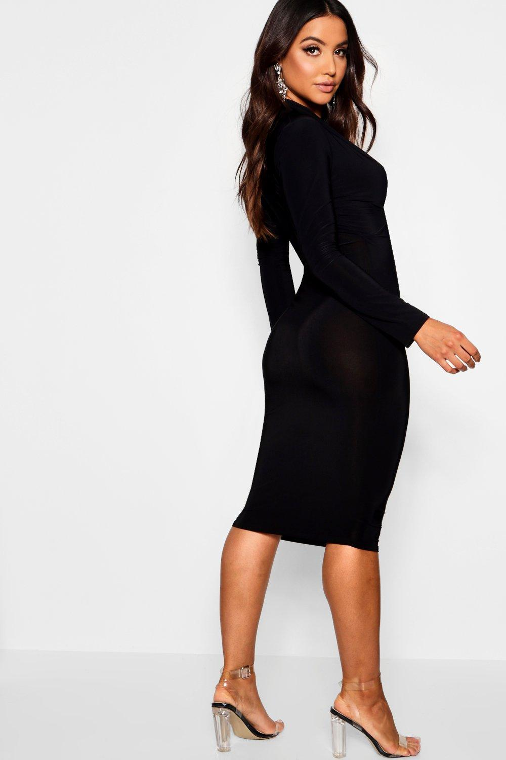 6476f00c39c8 Boohoo - Multicolor Slinky Plunge Neck Long Sleeve Midi Dress - Lyst. View  fullscreen