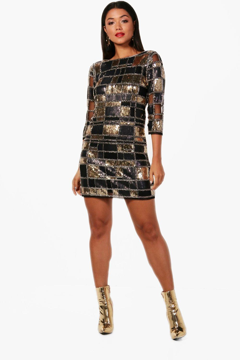 9d965f8f Lyst - Boohoo Boutique Sequin 3/4 Sleeve Bodycon Dress in Black