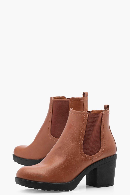 84b0389716f Boohoo Oana Chunky Cleated Heel Chelsea Boot in Brown - Lyst