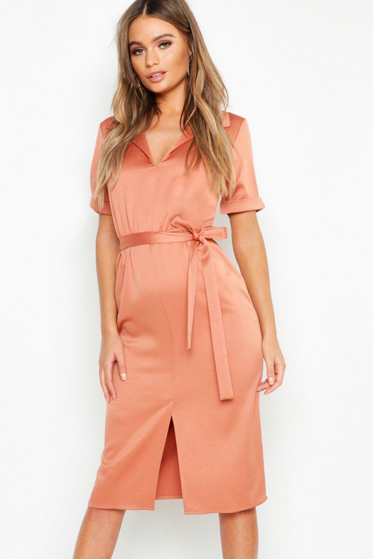 ae6a2ec0ba59a Lyst - Boohoo Satin Tie Waist Midi Shirt Dress in Orange