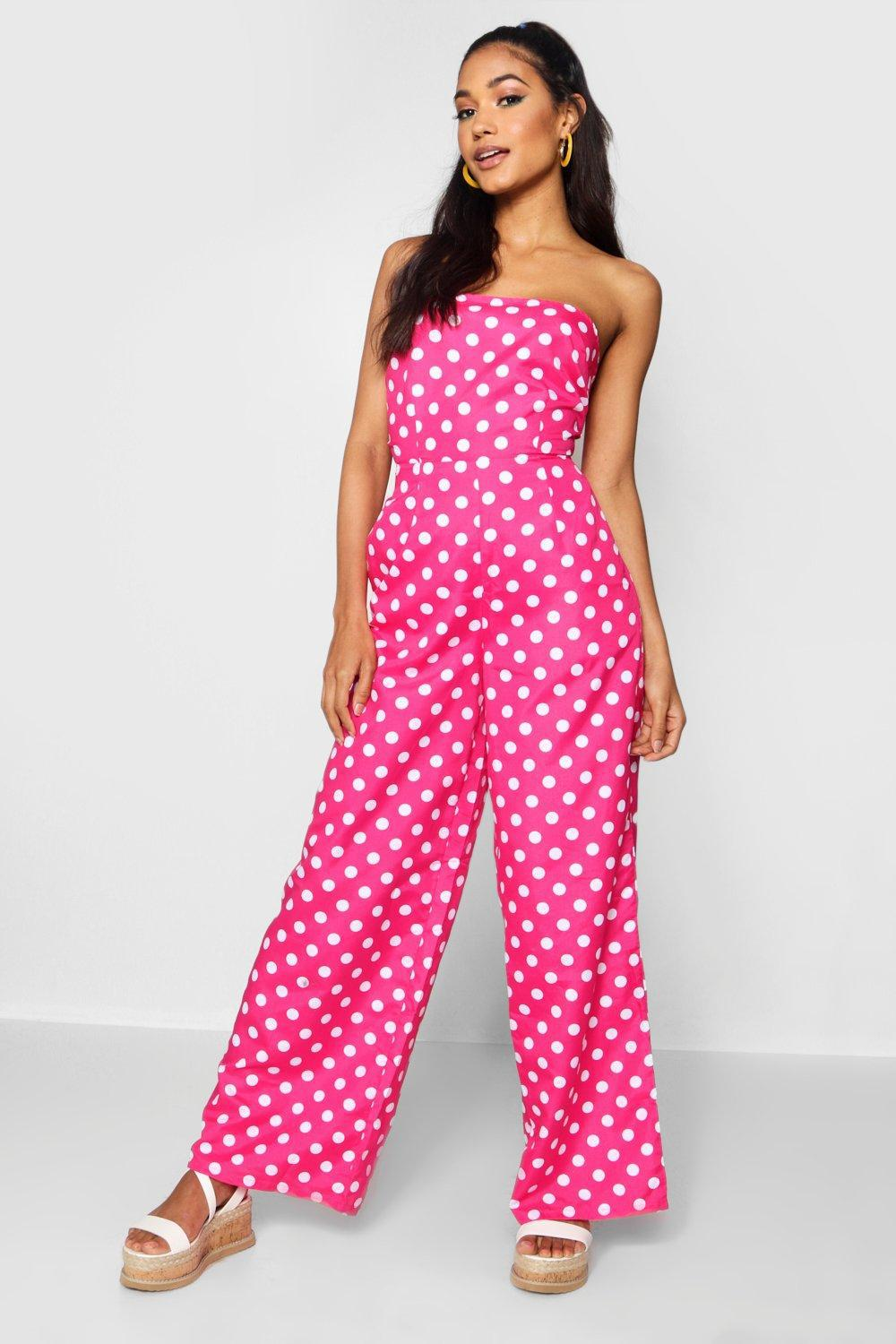 Boohoo Spot Bow Tie Wide Leg Jumpsuit Really Discount 2018 Unisex Clearance Fake yoy840x