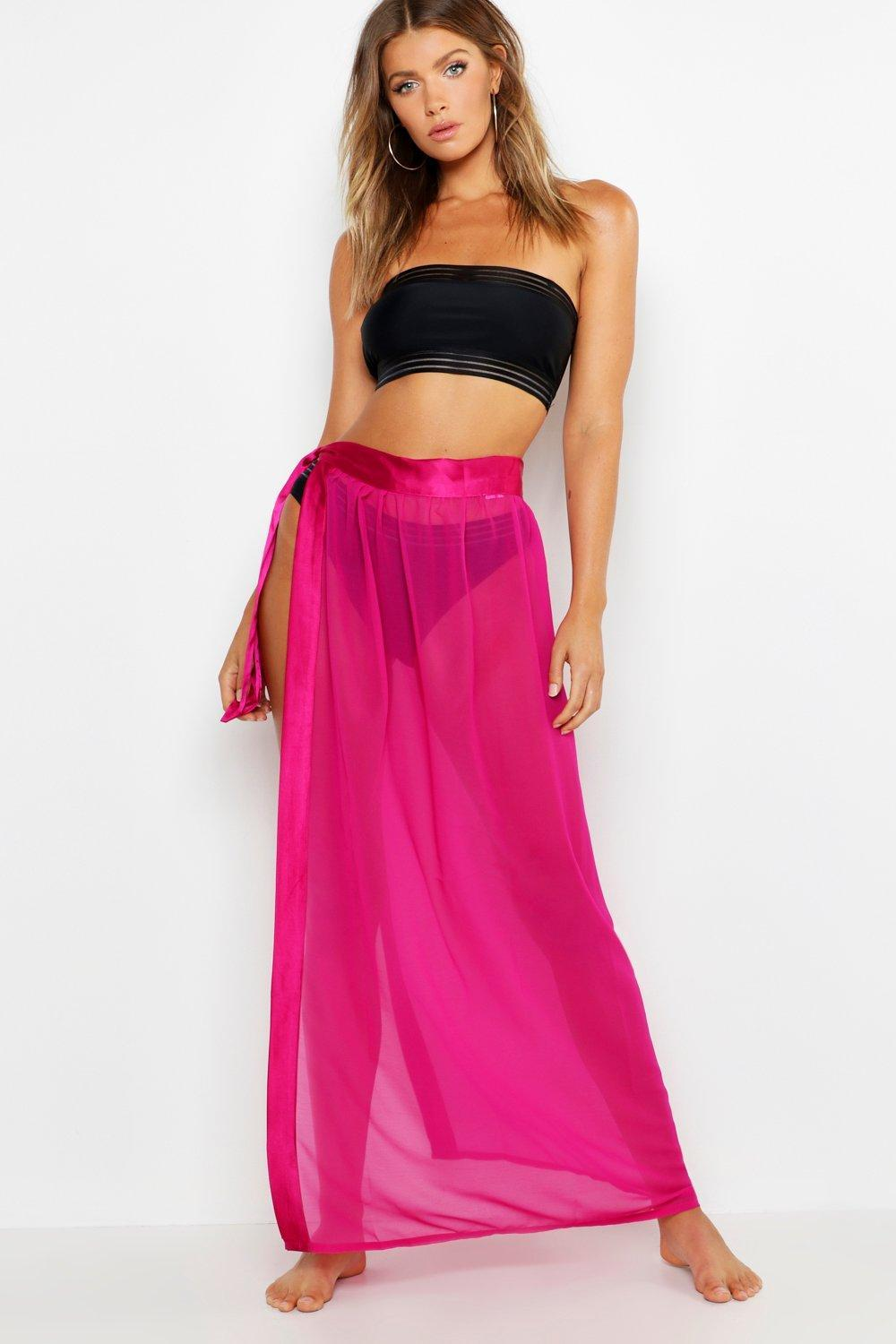 e0b95f6ee405b Boohoo Lilly Satin Tie Beach Sarong in Pink - Lyst